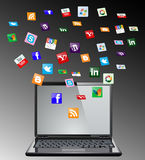 Social media and a laptop Stock Images