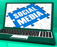 Social Media On Laptop Shows Online Relation Stock Image