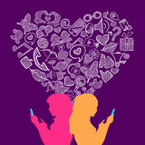 Social media lesbian love internet icons concept Royalty Free Stock Images