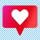 Social media like vector icon. White heart in speech bubble stock illustration