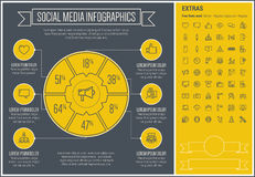 Social Media Line Design Infographic Template Stock Image