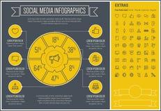 Social Media Line Design Infographic Template Stock Image