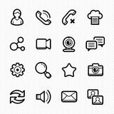 Social Media line Icons with White Background - Vector illustration Royalty Free Stock Photo