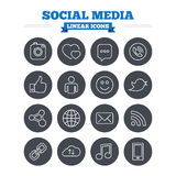 Social media linear icons set. Thin outline signs Royalty Free Stock Images