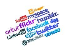 Social media logos (3d) Royalty Free Stock Photo