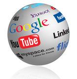 Social media logos globe. Globe illustration of social media logos.eps file is available Royalty Free Stock Image