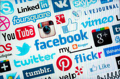 Social media logos such as Facebook, Flickr, Pinterest. Royalty Free Stock Images