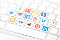 Social media logotype collection printed and placed on white com Stock Photo