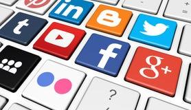Social Media Logotype On Keyboard Royalty Free Stock Image