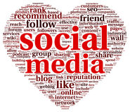 Social media love conept in word tag cloud. Social media love concept in word tag cloud of think bubble