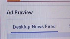 Social Media Macro Close Up: Facebook 'Promote Page' stock video footage