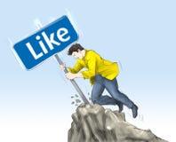 Social media. A man stab social media icon summit Royalty Free Stock Photos