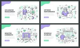 Social Media Management Color Line Concepts vector illustration