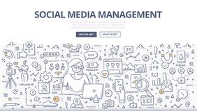 Social Media Management Doodle Concept stock photo