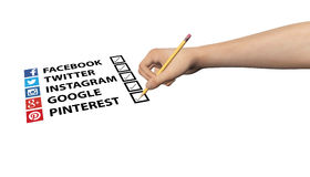 Social Media Marketing Checklist Tick Checked Illustration Stock Images