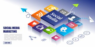 Social Media Marketing Concept Background stock illustration