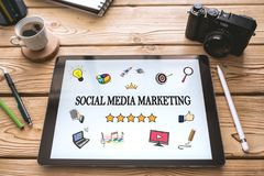 Social Media Marketing Concept on Digital Tablet. Screen royalty free stock photo