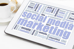 Social media marketing concept on digital tablet Royalty Free Stock Images