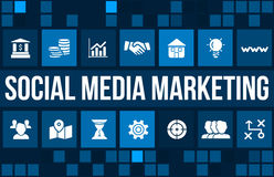 Social media marketing concept image with business icons and copyspace. Royalty Free Stock Image