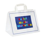 Social media marketing concept. Social media and network marketing concept ,shopping bag, isolated Royalty Free Stock Image