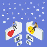 Social media marketing 3d isometric concept. Online dating and chat. Isometric People sit on the dialog box. Royalty Free Stock Image
