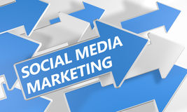 Social Media Marketing. 3d render concept with blue and white arrows flying upwards over a white background royalty free illustration