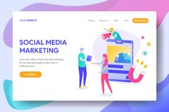 SOCIAL MEDIA MARKETING. Landing page template of SOCIAL MEDIA MARKETING Concept. Modern illustration flat design concept of web page design for website and stock illustration