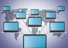 Social media marketing and laptop network. Scheme Stock Image