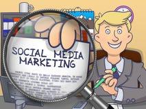 Social Media Marketing through Magnifying Glass. Doodle Concept. Stock Photos