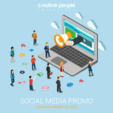 Social media marketing online promotion flat 3d web isometric vector illustration