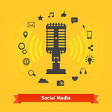 Social media marketing, podcasts recording studio Royalty Free Stock Photography