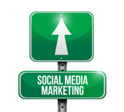 Social media marketing road sign illustration Royalty Free Stock Image