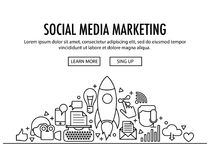 Social Media Marketing template. Social Media Marketing concept header template. Banner with different SMM icons elements on white background. Roket icon in vector illustration