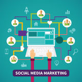 Social media marketing vector concept in flat style Stock Photo