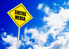 Social media message on road sign Stock Photography