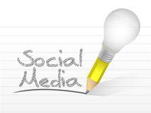 Social media message written with a bulb pencil Stock Photos