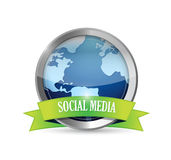 Social media metallic seal illustration Stock Photo