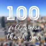 Social media milestone. 100 followers - social media milestone banner. Online community thank you note. 100 likes royalty free illustration