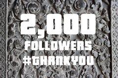 Social media milestone. 2000 followers sign - social media milestone banner. Online community thank you note. 2k likes royalty free stock photography