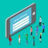 Social media mobile application network login. Soc stock illustration