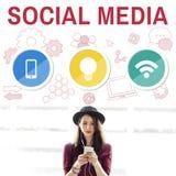 Social Media Mobile Lightbulb Wifi Concept Stock Photo