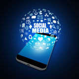 Social  media  on  Mobile Phone,cell phone illustration Royalty Free Stock Photos