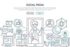 Social media - modern line design style illustration. On white background. Banner with heading, place for your text and information. Cute specialist in SMM