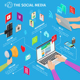Social Media in Modern Mobile Devices Illustration Royalty Free Stock Photos