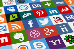 Social Media. Most famous social media logos arranged together Royalty Free Stock Photography