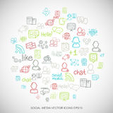 Social media Multicolor doodles Hand Drawn Social Network Icons set on White. EPS10 vector illustration. Royalty Free Stock Image