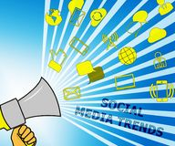 Social Media neigt Illustration Shows Emarketing-Handels-3d lizenzfreie abbildung