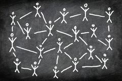 Social media network. Networking concept photo of blackboard / chalkboard chalk drawing of people or business connections Royalty Free Stock Photos