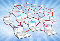 Social Media Network. Network of computers with social media interaction. Facebook, twitter and youtube stock image