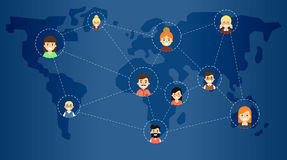 Social media network banner with connected icons stock illustration